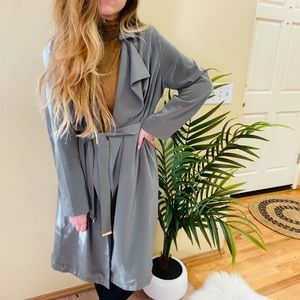 H&M Olive Green Belted Trench Coat